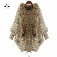 Leiouna Women Warm Thick Winter Poncho Bat Sleeve Fur Collar Wool Sweater Knitted Long Cardigan Feminino