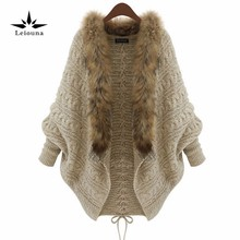 Leiouna Women Warm Thick Winter Poncho Bat Sleeve Fur Collar Wool Sweater Knitted Long Cardigan Feminino 50 Jumper Tricot(China)