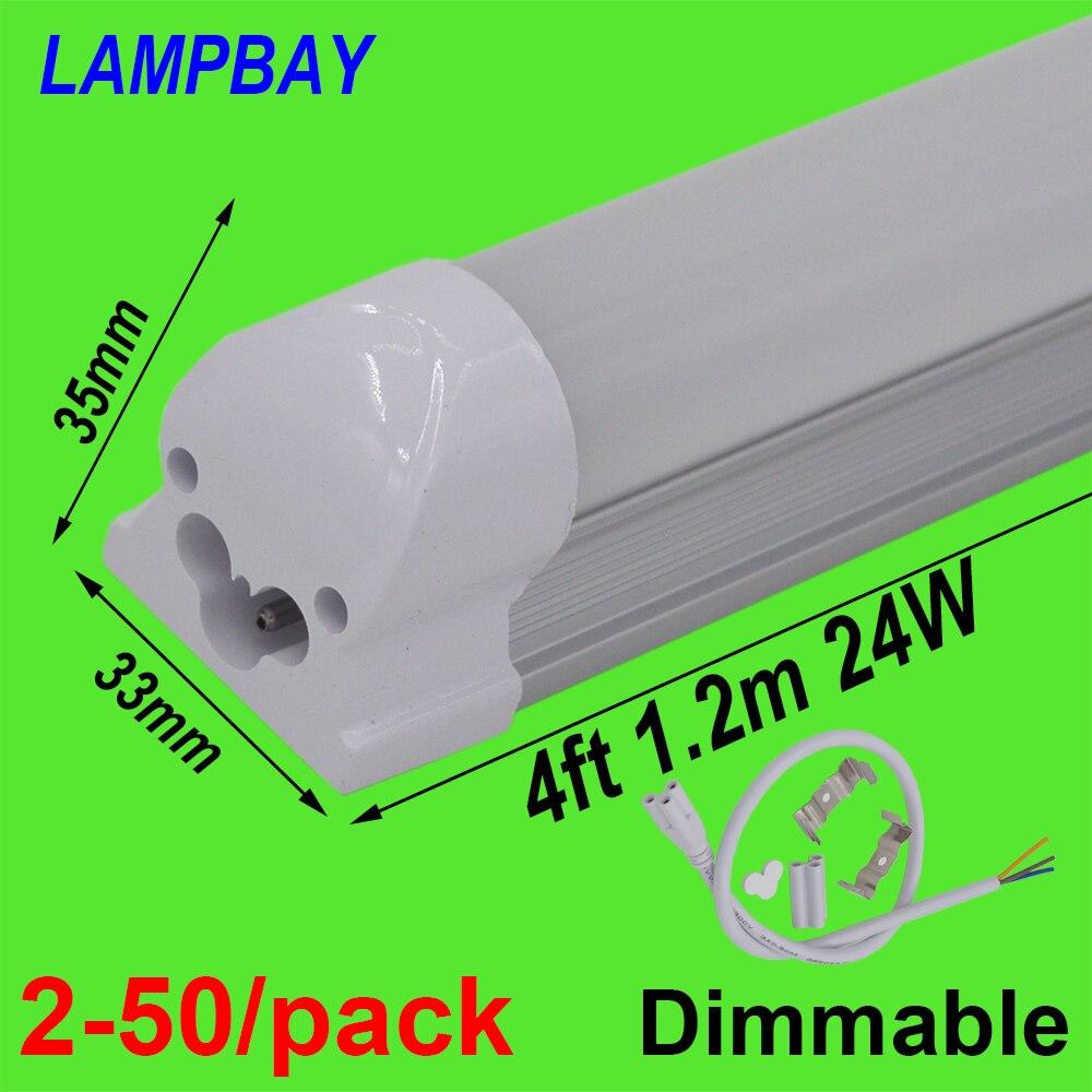 2-50/paquet LED Tube lumière 4 pieds 1.2 m 20 W 24 W Dimmable lampe T8 intégré ampoule luminaire connectable 48
