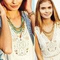 Marca de moda de La Vendimia Diseño Piedras Turquesas y Perlas Capas Declaración Cadena de Oro Collar de Oro Collar de Cuentas Línea de Discos