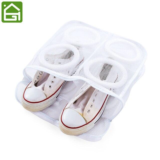 Durable Shoes Washing Storage Bag White Mesh Laundry Shoes Zipper Bags Hanging Dry Shoe Organizer