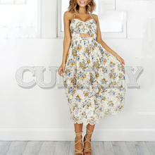 CUERLY Vintage print beach summer dress women Bow halter backless sexy Chiffon lace up long party vestidos sundress