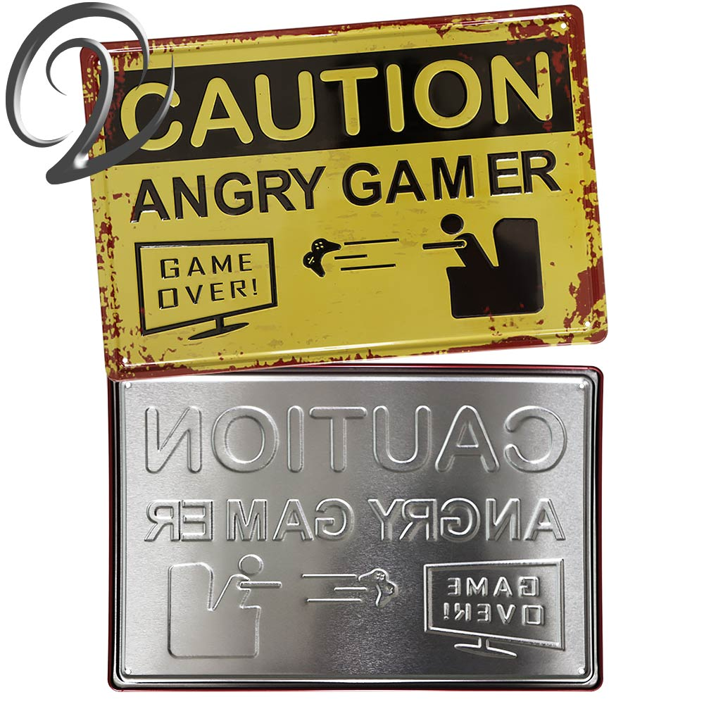 3D Embossed Caution Angry Gamer Metal Poster Man Cave Wall Decor ...
