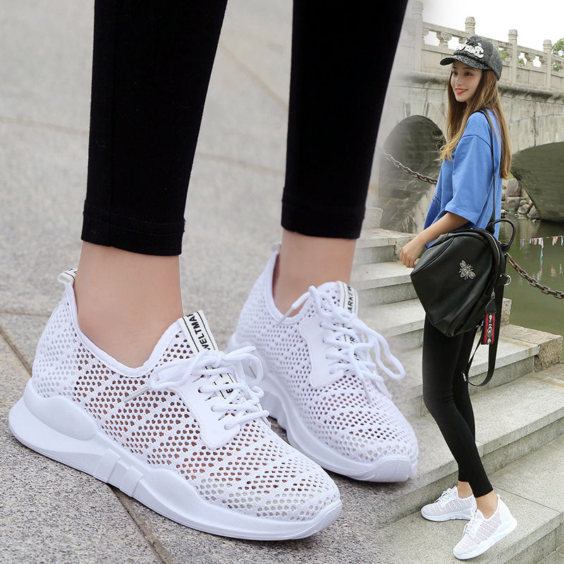 Summer new hollow breathable white shoes mesh shoes women's one foot mesh casual shoes thick-soled sports shoes tide
