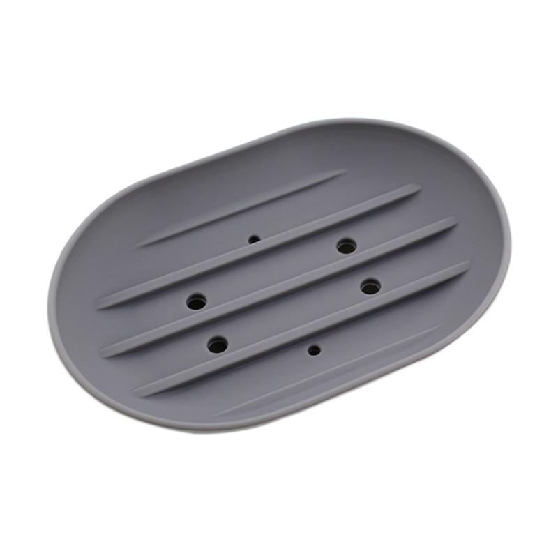 Silicon Kitchen Bathroom Flexible Soap Dish Plate Holder Tray Soapbox