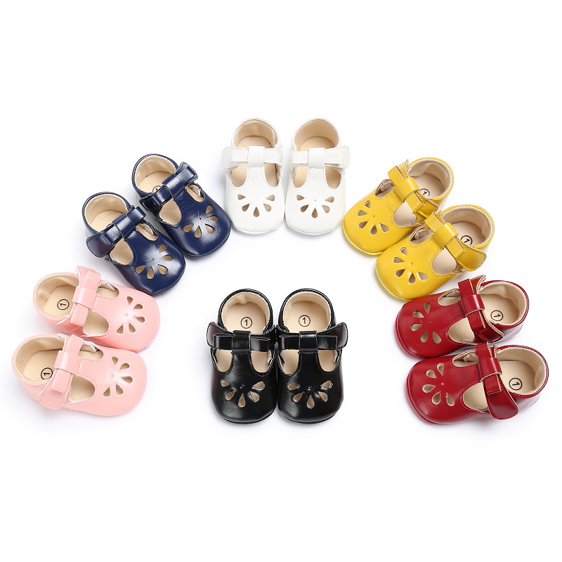 PU Leather Baby Girls font b Shoes b font First Walkers Sweet Bow Princess Mary Jane