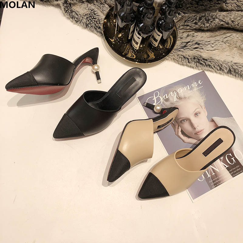 MOLAN Brand Designer 2019 Summer Luxury Pearl Mix Color High Thin Heel Lady Pumps Leather Slip On Loafers Mules Flip Flops 35-40MOLAN Brand Designer 2019 Summer Luxury Pearl Mix Color High Thin Heel Lady Pumps Leather Slip On Loafers Mules Flip Flops 35-40