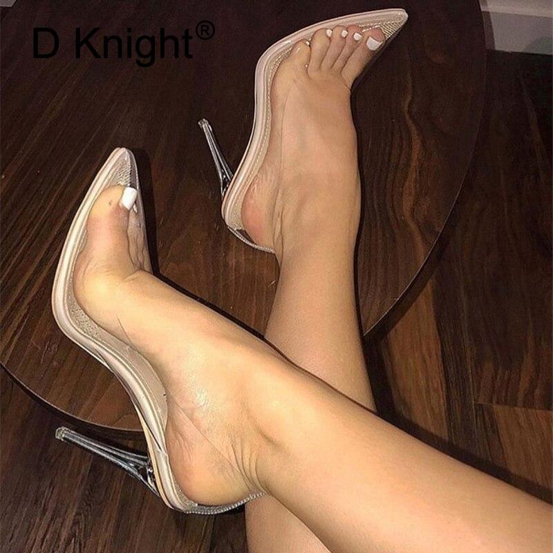 D Knight clair PVC transparent pompes sans lacet perspex talon talons aiguilles haut bout pointu femmes parti chaussures discothèque pompe 35-42