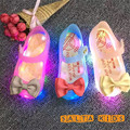 2016New Insole13.5-16cm Girls sandal LED  Bow Princess jelly Beach shoes baby Kids Shoe Chaussure Enfant 3colorSED11