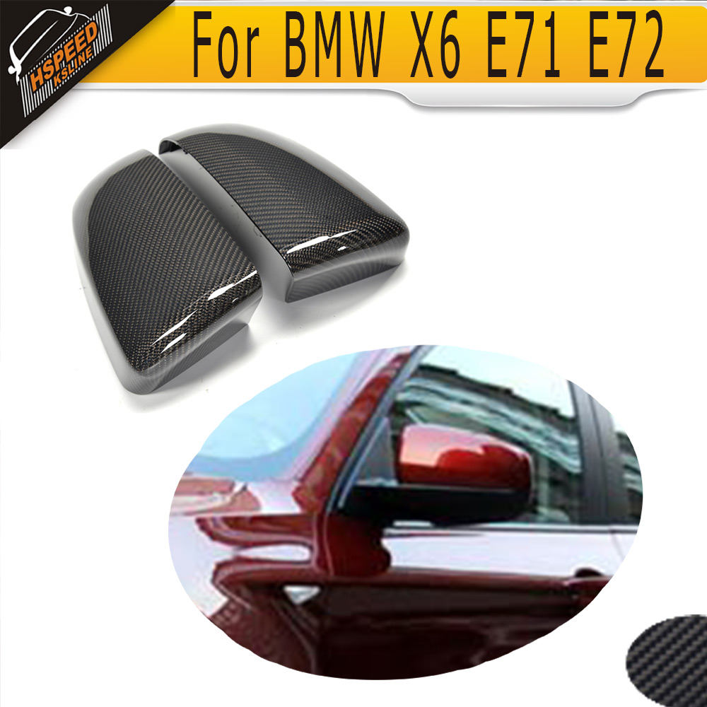 Carbon Fiber car side mirror covers caps for BMW X6 E71 E72 2008 - 2014 NOT fit X6M free shipping carbon fiber headlight covers eyelids eyebrows fit for mazda 6 vi ruiyi 09 13