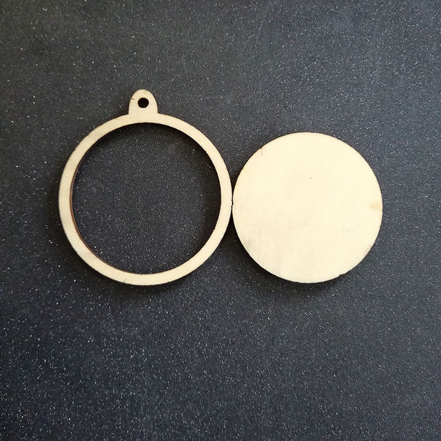 60pcs unfinished blank wood circle ornaments frame wooden laser cut charm rustic disc - Wooden Laser Cut Frame