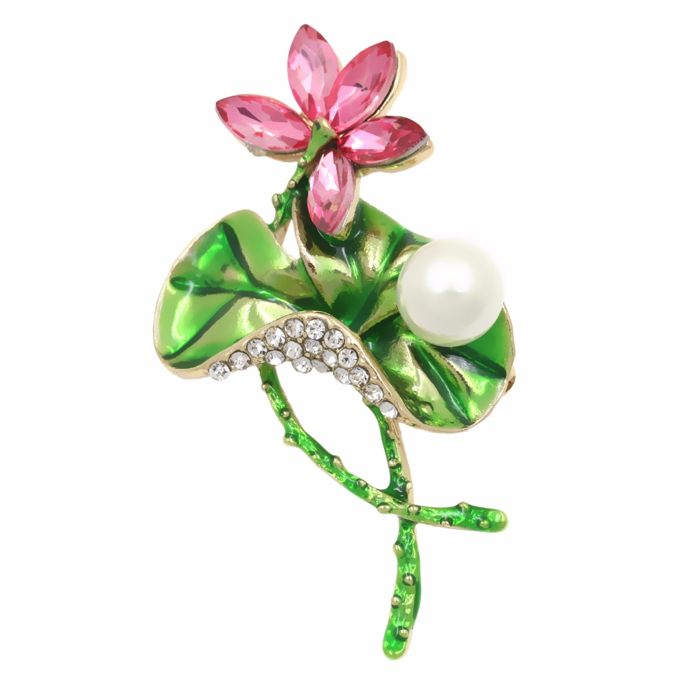 Factory Direct Sale Enamel Women Lotus Flower Brooch With Pink Crystal Clear Rhinestones And Big Green Leaf
