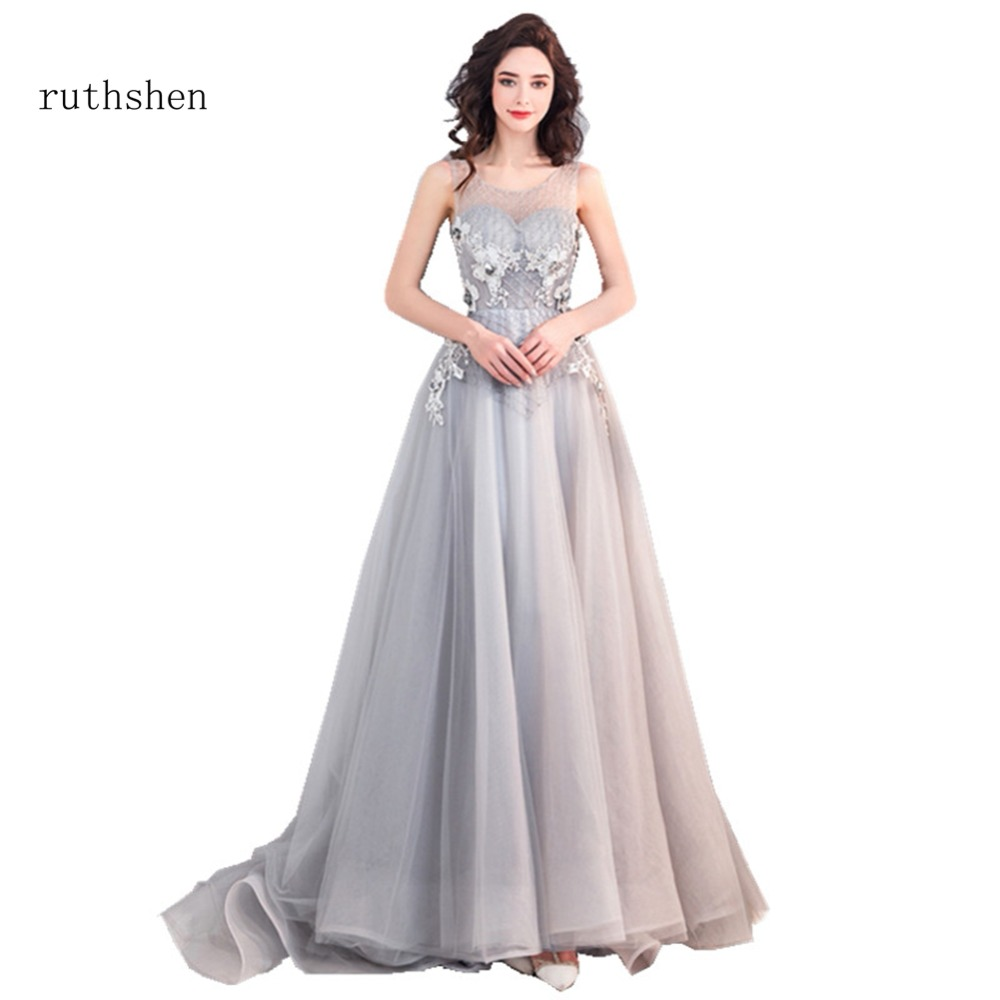 ruthshen In Stock Cheap Prom Dress 2018 A Line Beaded Appliques ...