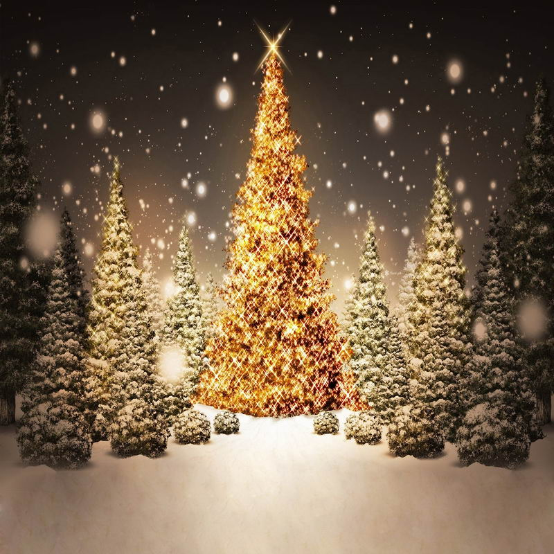 3d Vinyl Wallpaper Snow 10x10ft Gray Sky Forest Trees Outdoor Glitter Golden