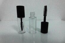 200 Uds 3ml plástico PETG pequeño claro vacío máscara tubo Vial/botella/contenedor con tapa negra para el crecimiento de pestañas medio máscara
