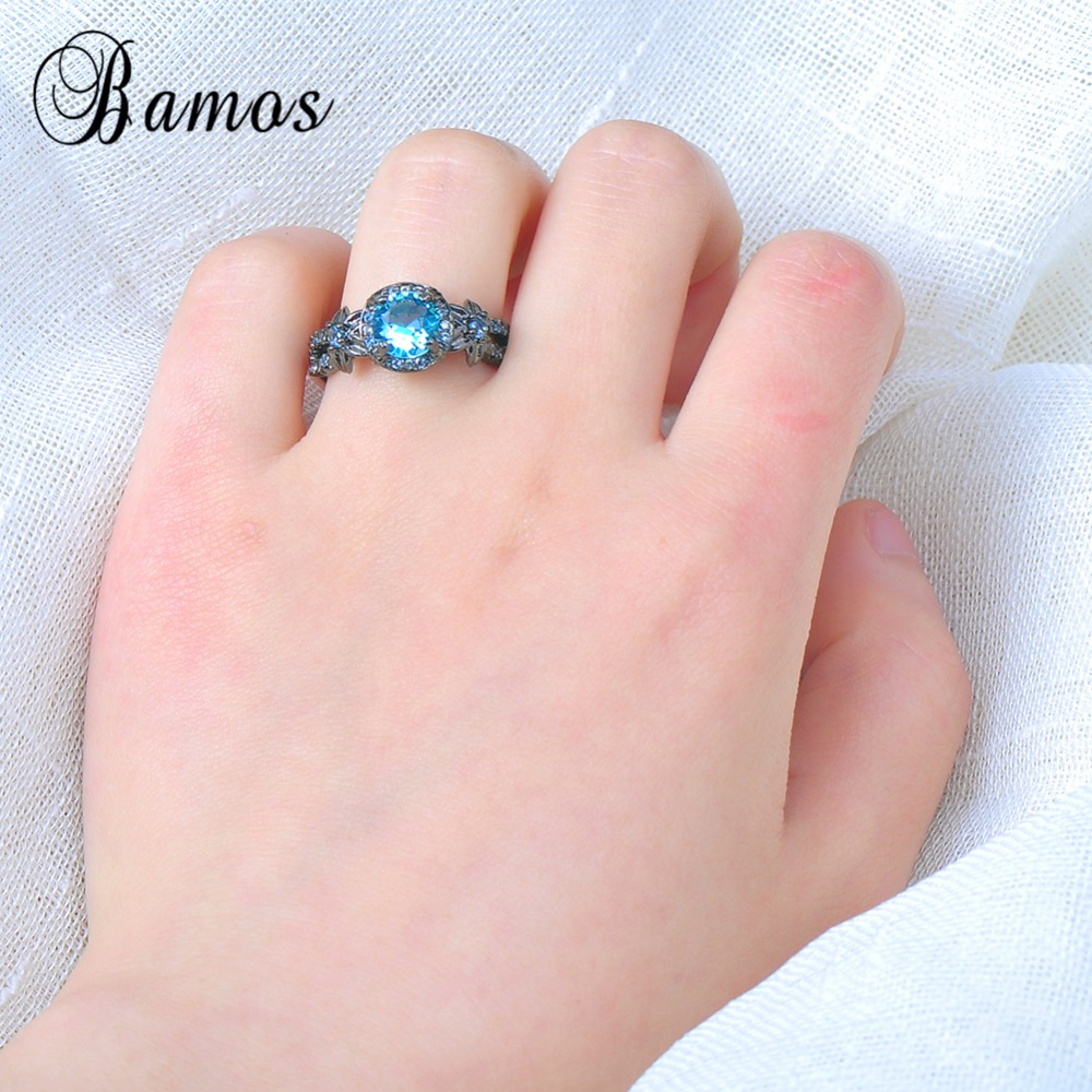Bamos Female Male Light Blue Round Ring Black Gold Filled Zircon ...