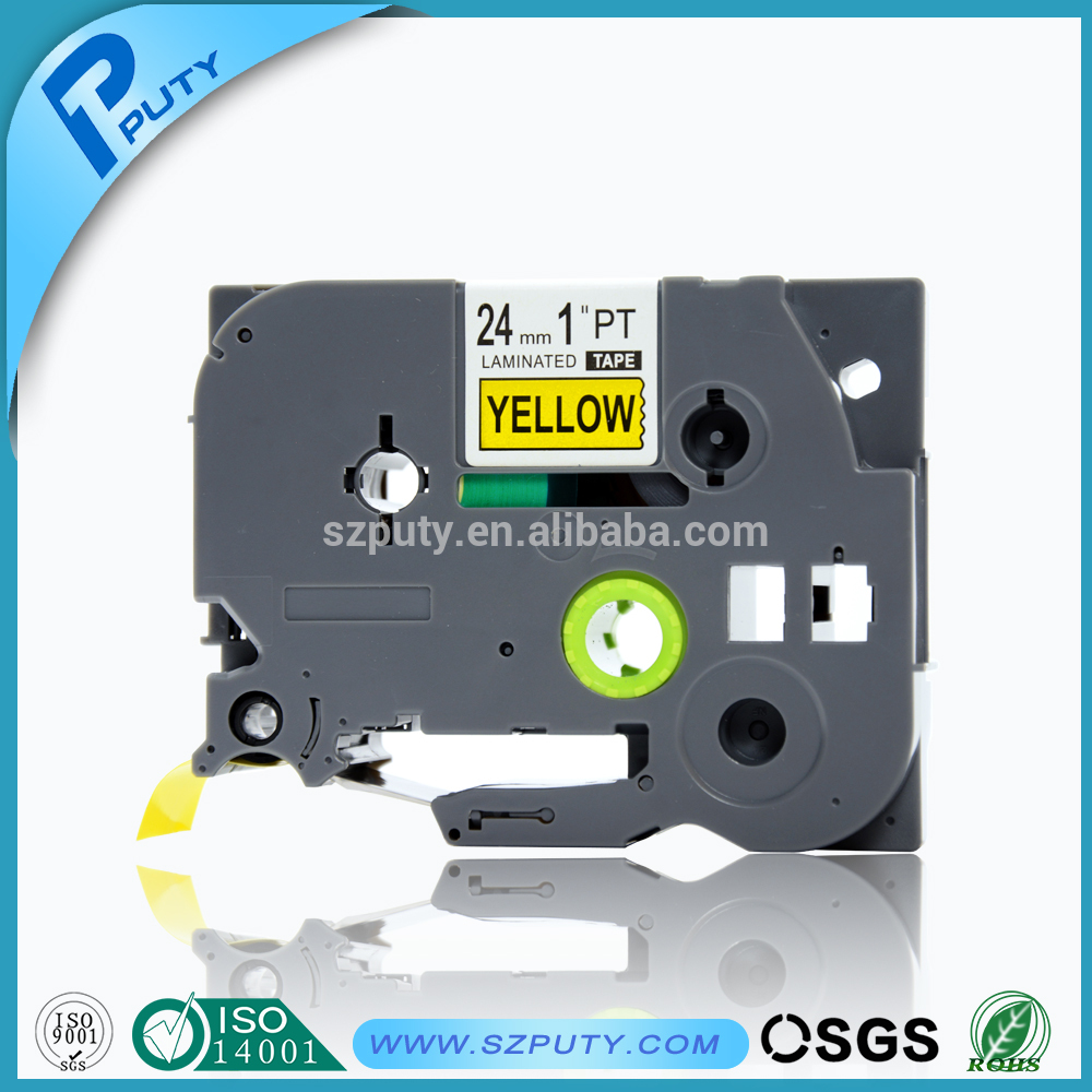 Adhesive P Touch Label Tape Tze651 24mm Black On Yellow Tze Image