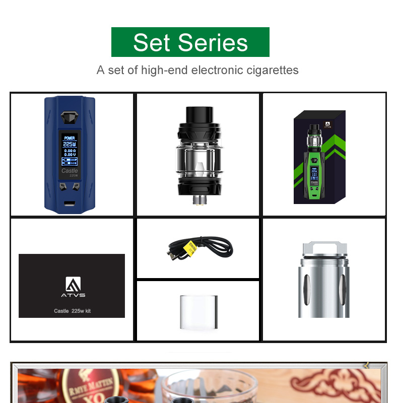 Original ATVS Castle 225W Vape Mod Kit E Cigarette 18650 Battery TC VW Bypass Box Mod 3ml Top Fill Atomizer Tank Vaporizer ECigs