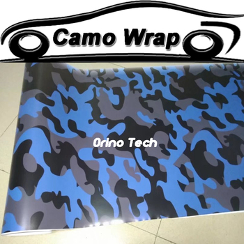 Black Grey Blue Camouflage Vinyl Film Car Wrap Sticker DIY Styling Vehicle Motors Car Film Wrapping With Air Bubble Free