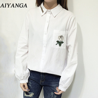 Brief Embroidery White Long Sleeve Blouses For Women Turn Down Collar Shirts Office Lady Casual Style