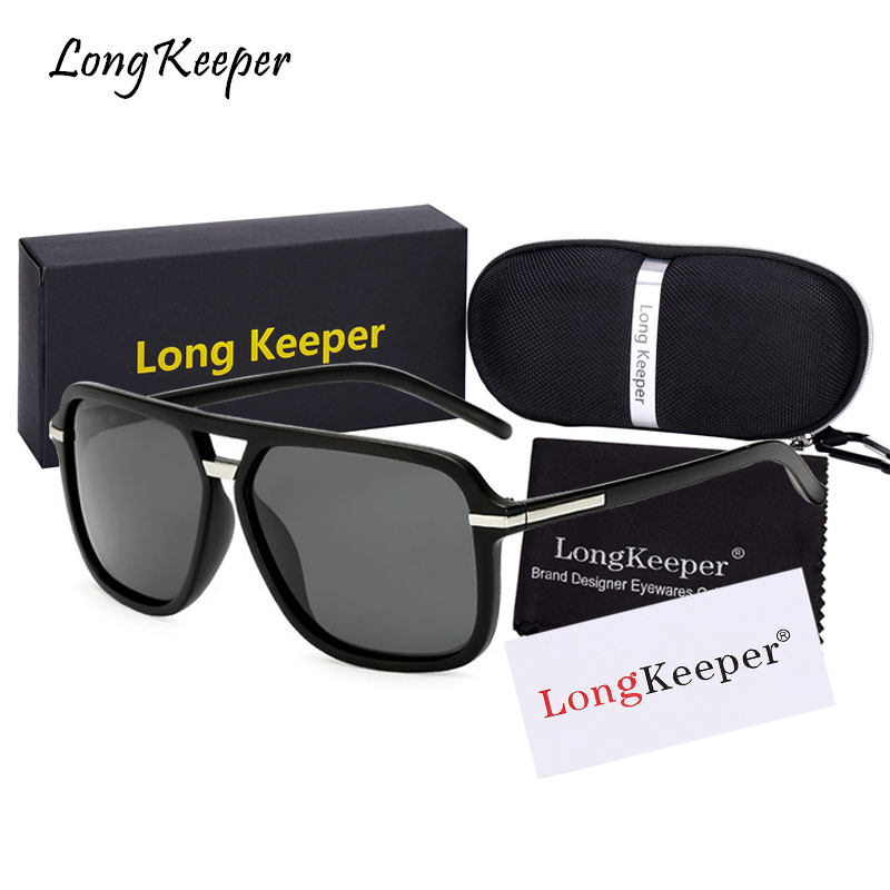 2018 New Mens Polarized Sunglasses Square Sun Glasses for Men Oversized Male Eyewears With Brand Box By LongKeeper