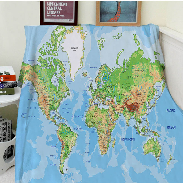Aliexpress buy blankets comfort soft cozy air conditioning blankets comfort soft cozy air conditioning easy care machine wash funny world map blue warm throw gumiabroncs Images