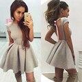 Fashion Backless Bow Ribbon Sexy Women Bandage Dress Short Mini Club Wear Party Pleated Dresses Vestidos