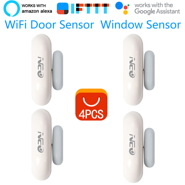 4PCS/lot Coolcam NEO Smart WiFi Door Sensor Window Sensor App Notification Alerts Home Security Door/Window Detector