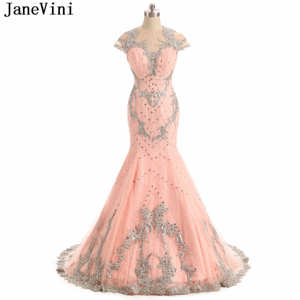 JaneVini Luxury Mermaid Arabic Lace Long   Bridesmaid     Dresses   Cap Sleeves Appliques Beaded Illusion Dubai Elegant Prom Party Gowns