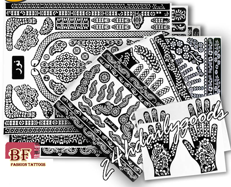 1 Piece Bih Temporary Tattoo Stencil Henna Tatoo Paste 24models Template Professional 2018 New Painting Kit Supplies Sexy Paint
