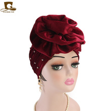 New Women beaded king flower Turban Hair Accessories velvet turban Chemo Beanie Hat Ladies Muslim Scarf Cap for Hair Loss new fashion baby vintage double flower beanie turban style hat children chemo cap muslim turban headbands kids hair accessories