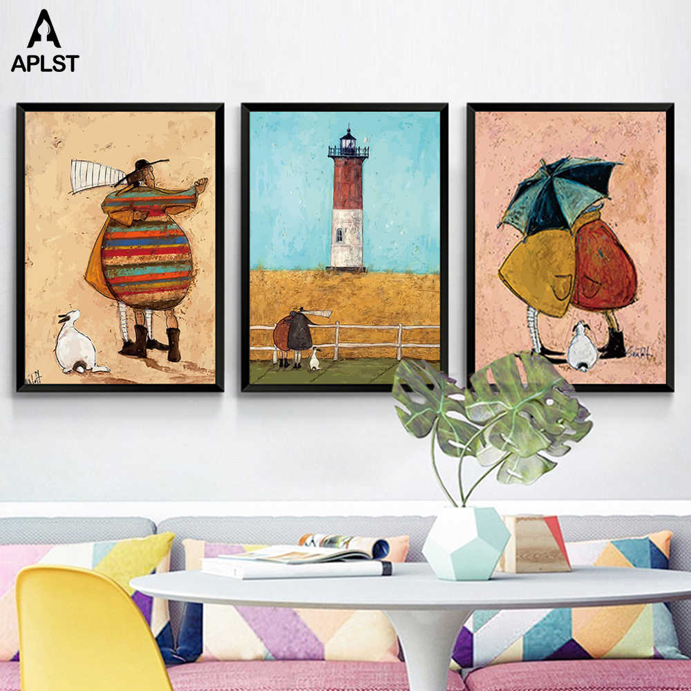 Family Happiness Posters and Prints Nursery Best Friends Figure Canvas Painting Kids Wall Art Pictures for Children Living Room