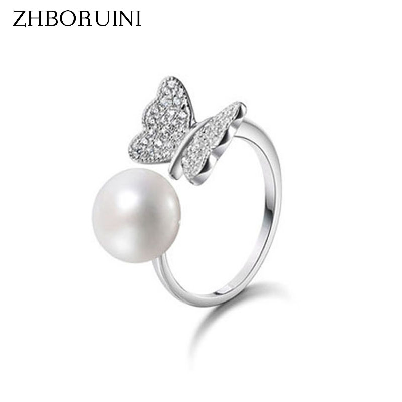2015 Fashion Pearl Ring Jewelry Of Silver Butterfly Ring Perfect Circle Pearl Wedding Rings 925 Sterling Silver Rings For Women mariposa en plata anillo