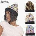 Zohra divertido emoji gráfico 3d full print sombreros invierno de las mujeres unisex Abofeteado Bobble Sombreros Gorro de Lana de Punto Baggy Beanie Hat Gorros Calientes