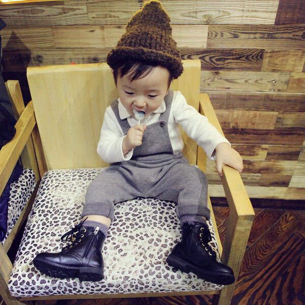 Autumn winter thick Free shipping 2015 Baby Girl boys Brushed gray coffee knit overalls Pants Suspenders
