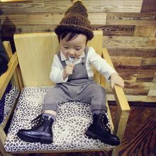 Autumn winter thick Free shipping 2015 Baby Girl boys Brushed gray/coffee knit overalls Pants Suspenders Kids Bib Outfits 80-110
