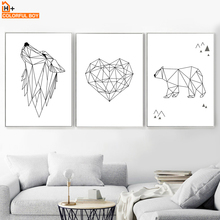 FARGEBOUL Geometri Wolf Bear Heart Wall Kunsttrykk Lerret Maleri Nordic Poster Line Art Wall Pictures For Living Room Decor