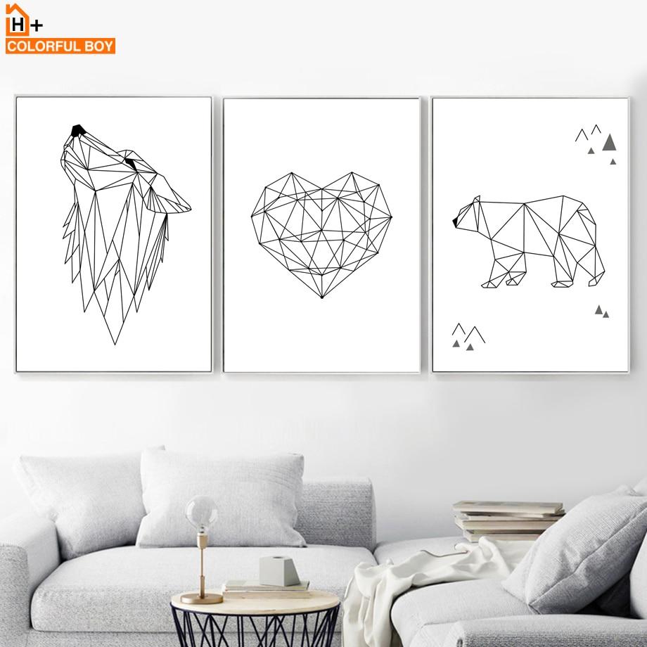 COLORFULBOY גיאומטריה וולף לב לב קיר אמנות - עיצוב לבית