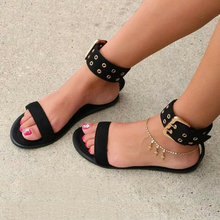 Women Flat Sandals Ankle Strap Women Summer Shoes Fashion Ankle Wrap Buckle Design Open Toe Solid Party Dress Sandals Shoes P25 недорого