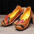 Mulheres Genuínas Sapatos de Couro Feitos À Mão Casuais Mulheres Flat Shoes Loafers Mocassim Macio E Confortável Mulheres Creeper Sapatos p5d57