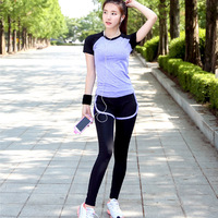 2 Pcs Sports Yoga Suit Women Yoga Shirt Trousers Bra Pants Full Length Slim Breathable Comfortable