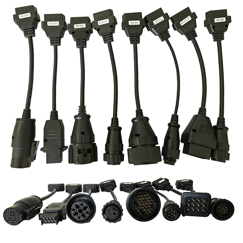 Full Set 8 Truck Cables OBD2 Diagnostic OBD OBDII OBD 2 Connecter Cable For TCS CDP Pro Free Shipping