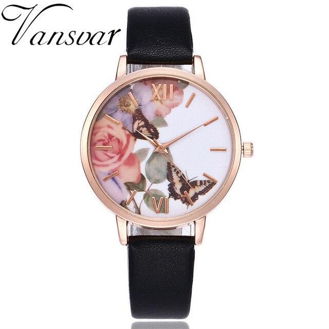 Vansvar Brand Fashion Quartz Watch Casual Women Butterfly Wristwatch Luxury Brac