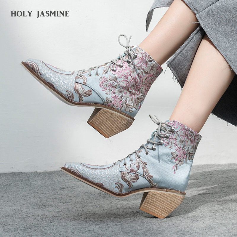 high heel ankle boots free shipping women shoes winter 2019 New woman embroidered boots botines mujer botte femme bottine Flower-in Ankle Boots from Shoes    1