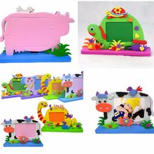 New Kids Kits Educational toys for Children Bee Owl Giraffe Dinosaur Elephant Cow Turtle DIY EVA Photo Frame Foam Craft Toy(China)