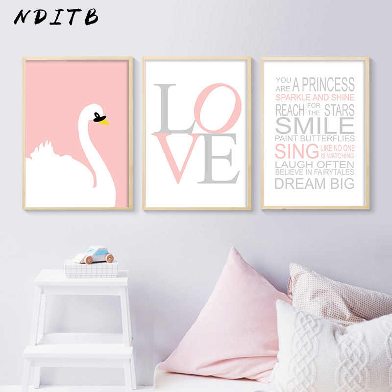 Nditb Baby Nursery Wall Art Canvas Painting Swan Cartoon Posters Quotes Prints Nordic Kids Decoration Pictures Bedroom Decor