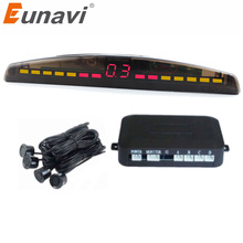 pz312 car auto parktronic parking sensor system with 4 sensors reversing car parking radar monitor detector led display Eunavi Car LED Parking Sensor Kit 4 Sensors 22mm Backlight Display Reverse Backup Radar Monitor System 12V