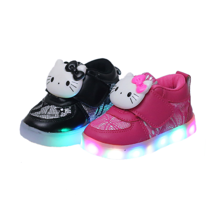 f3cb04a85 cute causal baby girl LED falsh shoes hello kitty flash lighted shoes for  1-6yrs girls kids children child outdoor sneaker shoes