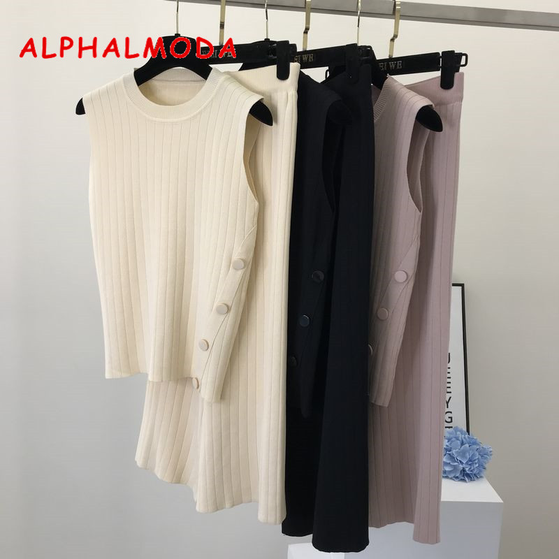 ALPHALMODA 2019 Summer Women Sleeveless Side Button Knitted Vest + Fashion Broad-legged Trousers 2pcs Casual Knit Pants Sets