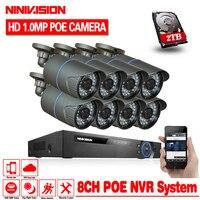 NINIVISION 48 V 8 Kanal PoE Kit HD 1080 P 8CH NVR POE IP Netzwerk 1.0MP Indoor Outdoor Kameras Home Security System 2 TB HDD